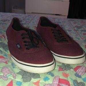 Maroon and Black Vans Sneakers size 8.5